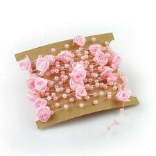 Vintage Rose Faux Pearl Beads Chain Jewelry Wedding Party Decor Garland Decor T