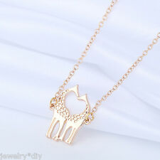 JD Rose Gold Giraffe Pendant Animal Charm Chain Necklace Jewelry Gift 45cm