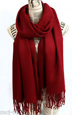 New Women's Winter Red 100% Cashmere Pashmina Solid Tassel Shawl Wrap Scarf