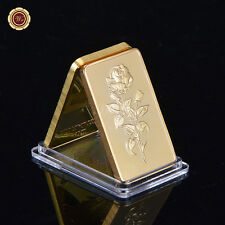 WR Collection Buy Gold Bar 1 Oz 999. 24K Gold Bullion Plate Bar Rose Design Gift