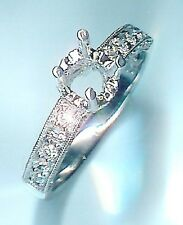 New .59 CT Total 14K White 3 Sided Semi-Mount Eng Ring