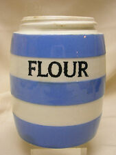 "T G Green Flour Cornish Kitchen Ware Made in England 4 1/4"" Tall Pottery No Lid"