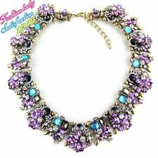 ZARA ELEGANT BLACK LILAC GREEN CLEAR STONES COLLAR NECKLACE - NEW