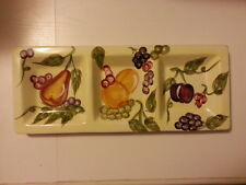 """Beautiful 17"""" Ceramic WCL Fruit 3-section Serving Platter Party Tray"""