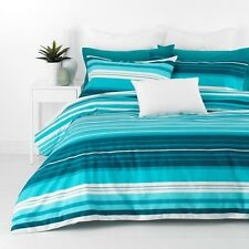 Alex Aqua Blue Queen Size Quilt / Doona Cover Set In 2 Linen Covers NEW Striped