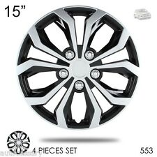 "New 15"" Hubcaps Spyder Performance Black and Silver Wheel Covers For VW 553"