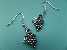 NEW! Grapes / Fruit Tibetan Silver Earrings in Organza bag.