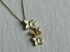 18K over Sterling Silver BUTTERFLY Pendant Necklace NEW Great Gift Idea (mx047)