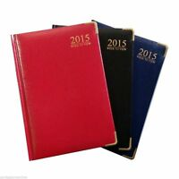 2015 Diary A6 Pocket size Week to view Hard Back Padded Gilt Edged Metal Corners