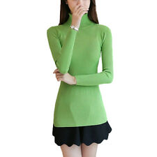 Women Fashion High Neck Elastic Slim Mercerized Cotton Knitted Pullover Sweater