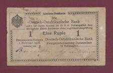 GERMAN EAST AFRICA 1 RUPIEN 1916 VF RARE TANZANIA WEST GERMANY