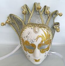 Masquerade Jester Mask with Ribbon Tie Up -  Gold on White