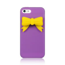 For iPhone 5 5S Rubber SILICONE Soft Gel Skin Case Phone Cover Purple Yellow Bow
