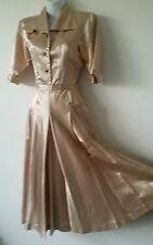 RARE 1940s Liquid Satin Swing Fit and Flare Party Dress S