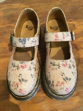 Doc Martens Womens White Floral Craquelure-Style Mary Janes, Size US 8 U.K. 6 39