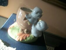 vintage planter, ceramic-adorable baby birds. has one small chip? imperfection?