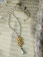 VINTAGE Miriam Haskell Large BAROQUE PEARL Russian Gold Drop Necklace