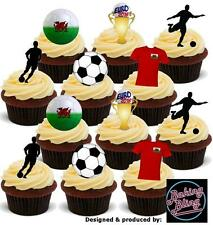 12 Novelty EURO 2016 WALES Football PARTY PACK Mix Edible Cake Topper Decoration