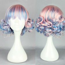 Pink Blue Anime Wig Short Curly Wavy Costume Gradient Ombre Harajuku Lolita Hair
