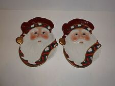 Waterford Holiday Heirlooms Plaid Santa Pair Dishes