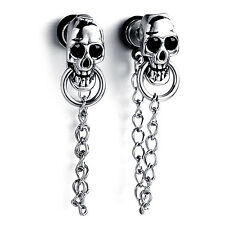 MENDINO Men's Stainless Steel Enamel Stud Earrings Skull Chain Drop Dangle Screw