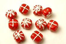 16 Handmade Lampwork Glass Beads Christmas Presents Red