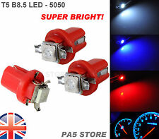 3x T5 B8.5 Dashboard LED RED (3pcs)- Super Bright 5050 Bulbs Quality. UK Post
