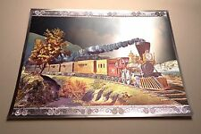 Vintage DUFEX English Print Old Time Train 1980s Foil Print