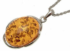 Imitation amber pendant on silver coloured metal chain - YL27