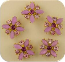 Beads X Flowers Lilac & Amethyst Swarovski Crystal Elements 2 Hole Sliders QTY 5