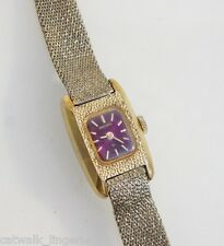 Seiko Woman's 11-3409 Vintage Mechanical Gold Tone Band Burgundy Dial