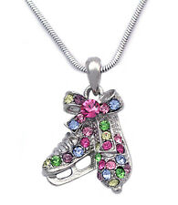 Colorful Ice Figure Skating Shoes Skate Pendant Necklace Gift for Skater n2026m