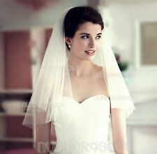 Wedding Bridal Prom Long Vintage Ivory 3 TIER Layer Veil With Comb Waist Length