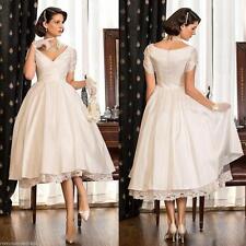 New V Neck Wedding Dress White Ivory Short Sleeve Tea Length Bridal Gown Custom