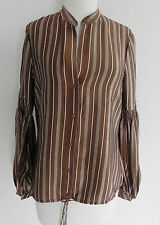 BCBG Maxazria Romantic Blouse 100% Silk Satin  Long Sleeve Size XS (Loose Fit)