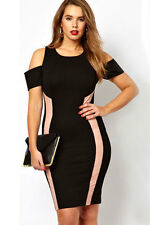WOMENS BLACK & PINK DRESS BODYCON BANDAGE CELEB CLUB WEAR SIZE 8 & 10
