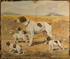 """The General Tire Antique Advertising Lithograph  """"Hunting Dog & Pups"""" NICE COND!"""