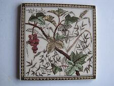 VICTORIAN STYLE WALL TILE - BERRIES AND CORN - REPRODUCTION