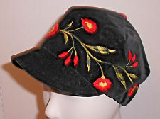 Handmade Floral Embroidered Cap Equestrian Riding Style Crushed Black Velvet Hat