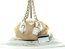 Authentic PRADA Gold Chain Leather, Beige Straw Shoulder Bag PS10559L
