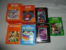 BOXED ATARI 2600 GAME LOT STELLAR TRACK STAR RAIDERS INDY 500 MISSILE COMMAND