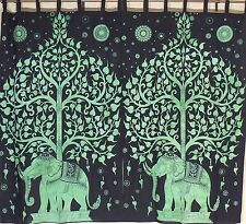 Printed Curtains - 2 Green Tree of Life and Elephant Indian Cotton Panels 78""