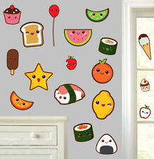 Cute Kawaii Foods - Pack of 18 - Wall Art Vinyl Stickers Japan Japanese Decals