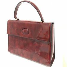 NEW CARTIER Vintage Burgundy Red Box Hand Bag Leather Patent Medium Size D464