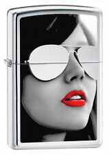 Zippo Windproof Lighter, Red Lipstick Girl with Sunglasses, 28274, New In Box