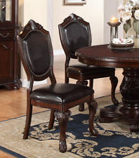 Poundex F1395 Traditional Dining Side Chair Espresso Finish Set Of 2