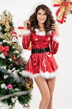 Sexy Women's Metallic Red Santa Fancy Dress Costume Christmas