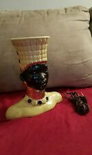 AFRICAN WOMAN BUST TABLE LAMP- Works great- very rare- green/gold/black