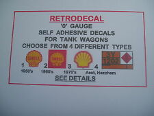 RETRODECAL 4 TYPES '0' Gauge Self Adhesive Decals for Tank wagons,Shell Hazchem.