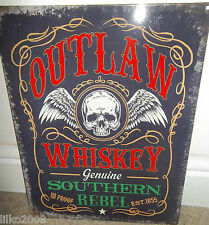 OUTLAW WHISKEY/ SOUTHERN REBEL VINTAGE-STYLE METAL SIGN 30X0cm BAR/PUB/CAFE/DEN